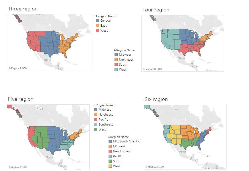 Standard Ways to Group States and Regions of US